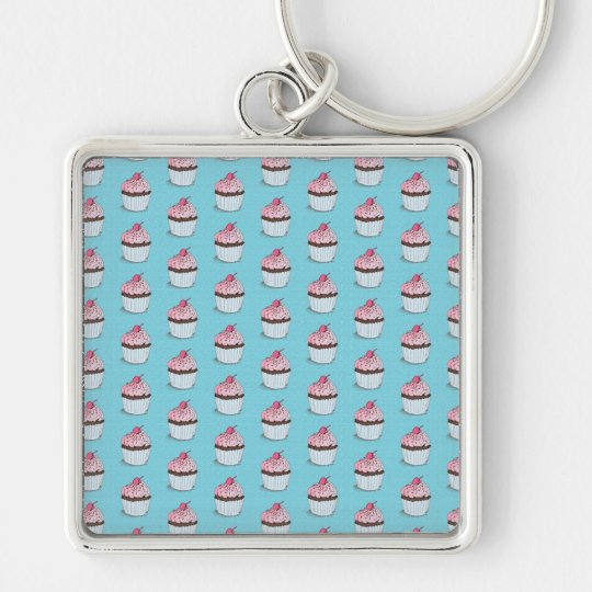 Cute Cupcakes on Blue Background Keychain
