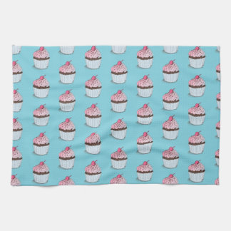 Cute Cupcakes on Blue Background Hand Towels