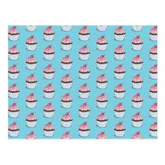 Cute Cupcakes on Blue Background Postcard