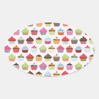 Cute Cupcakes Oval Sticker