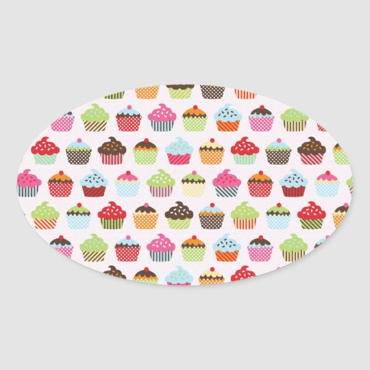 Cute Cupcakes Oval Sticker