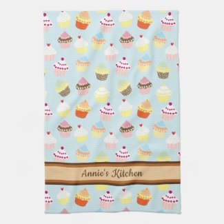 Cute Cupcakes Personalized Kitchen Towel
