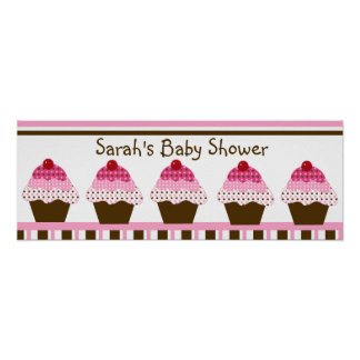Cute Cupcakes Pink & Brown Dots Poster/Banner Poster