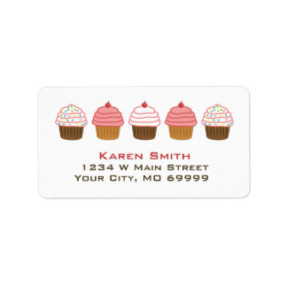 Cute Cupcakes Sprinkles Bakery Address Labels