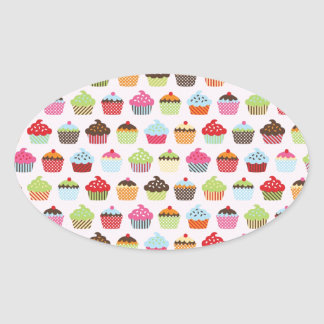 Cute Cupcakes Oval Stickers