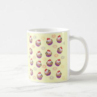 Cute Cupcakes Sweet Red Hearts Ditsy Pattern Coffee Mug