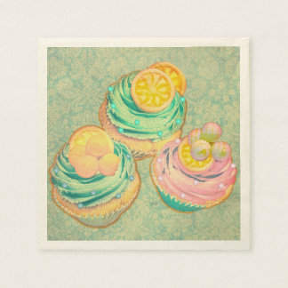 cute cupcakes with wallpaper design napkin