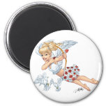 Cute Cupid Angel with Love Arrow by Al Rio 2 Inch Round Magnet