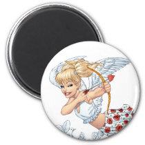 angel, cupid, blonde, roses, red, heart, arrow, birds, doves, cherub, al rio, angels, Ímã com design gráfico personalizado