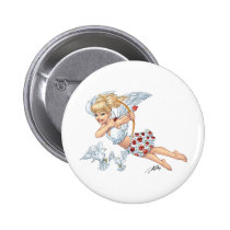 angel, cupid, blonde, roses, red, heart, arrow, birds, doves, cherub, al rio, angels, Button with custom graphic design