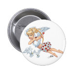 Cute Cupid Angel with Love Arrow by Al Rio Buttons