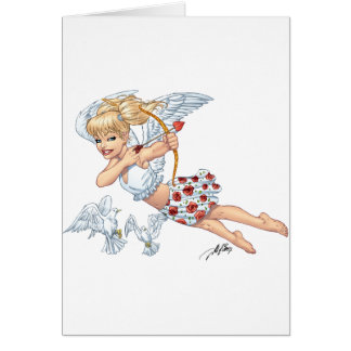Cute Cupid Angel with Love Arrow by Al Rio Card