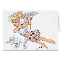 angel, cupid, blonde, roses, red, heart, arrow, birds, doves, cherub, al rio, angels, Cartão com design gráfico personalizado