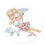 Cute Cupid Angel with Love Arrow by Al Rio Classic Round Sticker