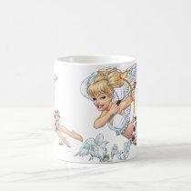 angel, cupid, blonde, roses, red, heart, arrow, birds, doves, cherub, al rio, angels, Mug with custom graphic design