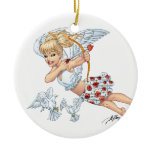 Cute Cupid Angel with Love Arrow by Al Rio Double-Sided Ceramic Round Christmas Ornament