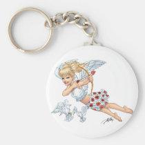 angel, cupid, blonde, roses, red, heart, arrow, birds, doves, cherub, al rio, angels, Keychain with custom graphic design