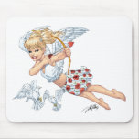 Cute Cupid Angel with Love Arrow by Al Rio Mousepad