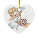 Cute Cupid Angel with Love Arrow by Al Rio Double-Sided Heart Ceramic Christmas Ornament