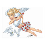 Cute Cupid Angel with Love Arrow by Al Rio Post Card