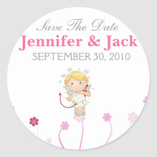 Cute Cupid with flowers Save the date Sticker