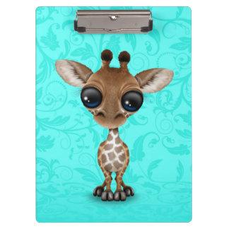 Cute Curious Baby Giraffe on Blue Clipboard
