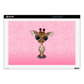Cute Curious Baby Giraffe on Pink Laptop Decal