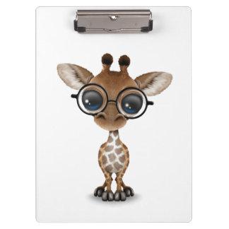 Cute Curious Baby Giraffe Wearing Glasses Clipboard