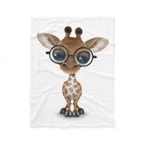 Cute Curious Baby Giraffe Wearing Glasses Fleece Blanket