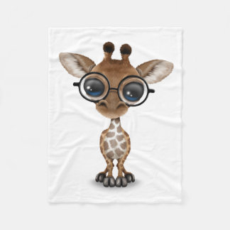 Cute Curious Baby Giraffe Wearing Glasses Fleece Blanket