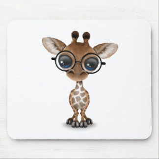Cute Curious Baby Giraffe Wearing Glasses Mouse Pad