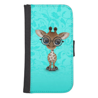 Cute Curious Baby Giraffe Wearing Glasses on Blue Phone Wallets