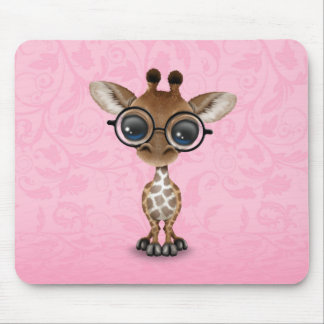 Cute Curious Baby Giraffe Wearing Glasses on Pink Mouse Pad