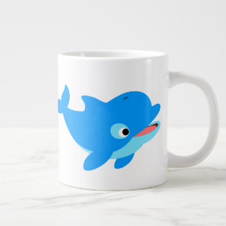 Cute Curious Cartoon Dolphin Giant Coffee Mug