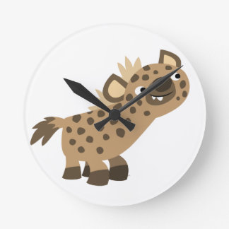 Cute Curious Cartoon Hyena Wall Clock