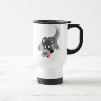 Cute Curious Cartoon Wolf Commuter Mug