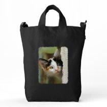 Cute Curious Cat Kitten Prying Eyes Photo Shopper Duck Bag