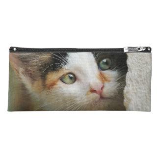 Cute Curious Cat Kitten Prying Eyes Photo Writing- Pencil Case