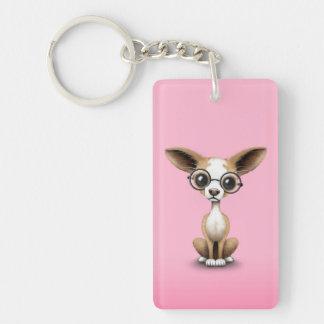 Cute Curious Chihuahua Wearing Eye Glasses Pink Keychain