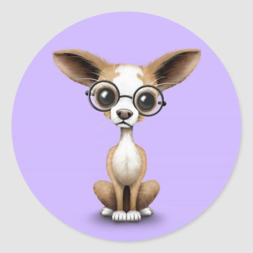 Cute Curious Chihuahua Wearing Eye Glasses Purple Classic Round Sticker
