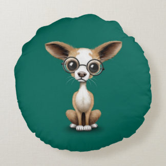 Cute Curious Chihuahua Wearing Eye Glasses Teal Round Pillow