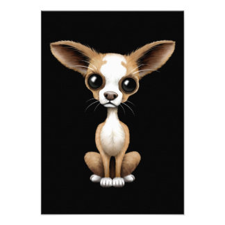 Cute Curious Chihuahua with Large Ears on Black Custom Invitations
