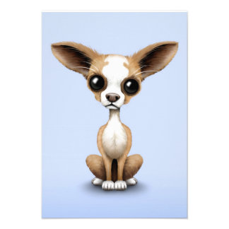 Cute Curious Chihuahua with Large Ears on Blue Custom Invitation
