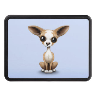 Cute Curious Chihuahua with Large Ears on Blue Trailer Hitch Cover