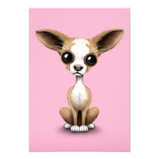 Cute Curious Chihuahua with Large Ears on Pink Custom Invite