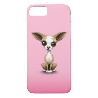 Cute Curious Chihuahua with Large Ears on Pink iPhone 8/7 Case