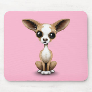 Cute Curious Chihuahua with Large Ears on Pink Mouse Pad