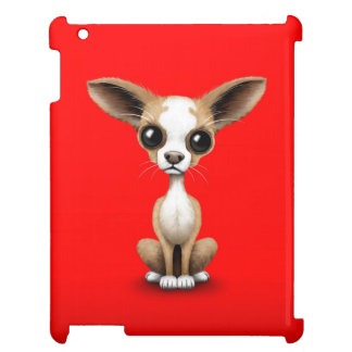 Cute Curious Chihuahua with Large Ears on Red Case For The iPad