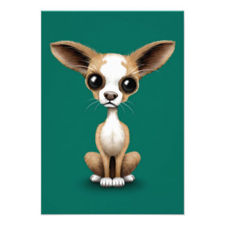 Cute Curious Chihuahua with Large Ears on Teal Personalized Invitation