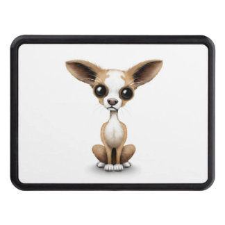 Cute Curious Chihuahua with Large Ears on White Trailer Hitch Cover